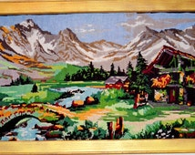 New!!Painting,hand embroidery thread. Rural landscape