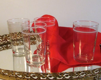 Set of Clear Juice Glasses with 3 Etched Lines, Drinking Glasses, Barware Glasses, Water Glasses, Clear Glass Tumblers, laslovelies