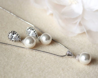 Crystal Pearl Bridal Jewelry Set White Ivory Cream Swarovski Pearl Bridesmaid Gift Set Wedding Jewelry Set Pearl earrings and necklace set