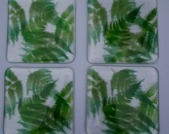 set of 4 coasters, green fern design