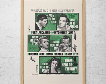 VINTAGE MOVIE POSTER - From Here to Eternity Poster - Frank Sinatra Poster, Burt Lancaster, Montgomery Clift, Deborah Kerr, Donna Reed