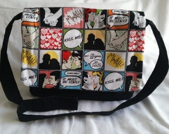 Sale, Large messenger bag, Messenger bag, Retro style messenger bag, cartoon style messenger bag, sale