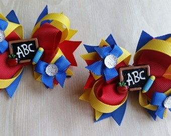 Back to School hair bows. Set of 2. Perfect for piggy tails :) ABC