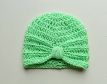 Handmade Crochet Baby Turban Style Hat in Spring Green 0-3 Months, Ready to ship. great photo prop! Baby Gift, Baby Showers