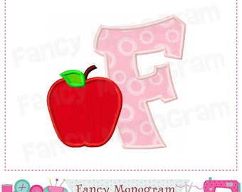 School Monogram F applique,Apple Letter F applique,F,School design,F,Back to School,Font F,Student applique.