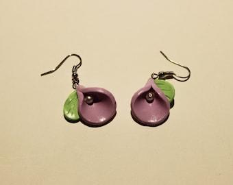 Polymer Clay Purple Flower Earrings, Jewel, Handmade