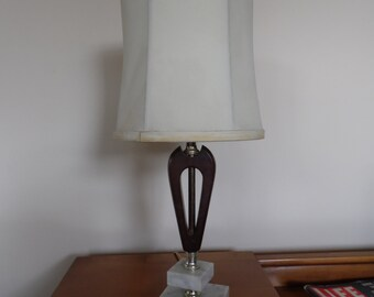 Small Midcentury Wood & Marble Table Lamp, Desk Lamp With Shade