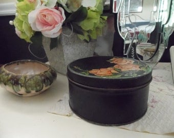 Vintage Round Black Tin With Pink Roses, Shabby Tole Tin Box