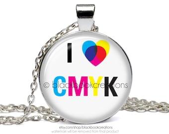 I Love CMYK Graphic Artist Necklace -  Handmade