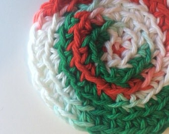 Red Green and White Christmas Coaster Set of 4