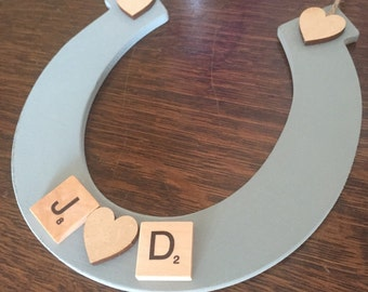 Personalised good luck horseshoe for the bride. Wedding gift ideas. Vintage- initials