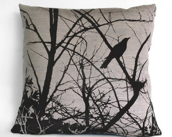 Currawong in my Garden Hand Printed Cushion COVER