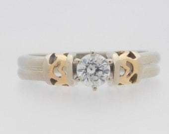 0.33 Carat Round Cut Diamond Solitaire Engagement Ring 14K White Gold