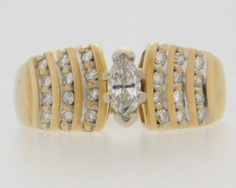 0.50 Carat T.W. Marquise & Round Cut Diamond Engagement Ring 10K Yellow Gold