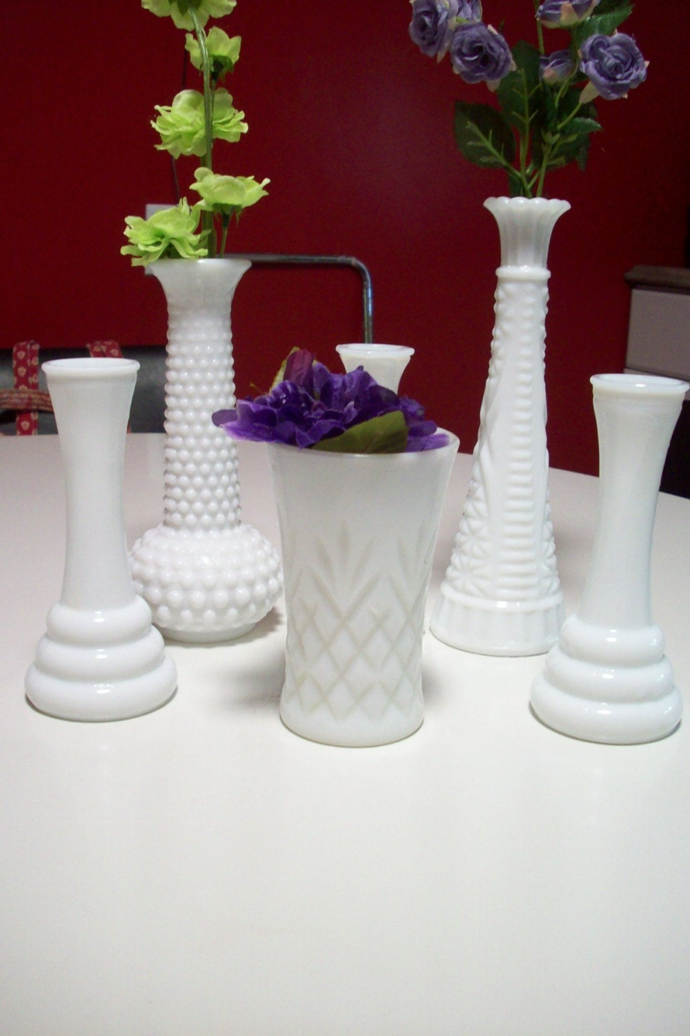 White milk glass vases wedding centerpiece hoosier