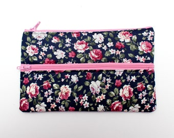 Sale! Floral Pencil case/ Makeup Bag 19.3cm x 11.7cm With Two Pockets and two pink Zippers