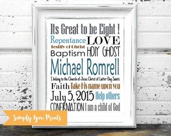 Baptism Subway Art-PRINTABLE- Boy Baptism Gift,LDS, Digital File