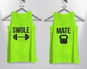 His and Hers Set of Swole Mate Fitness and Gym tank tops