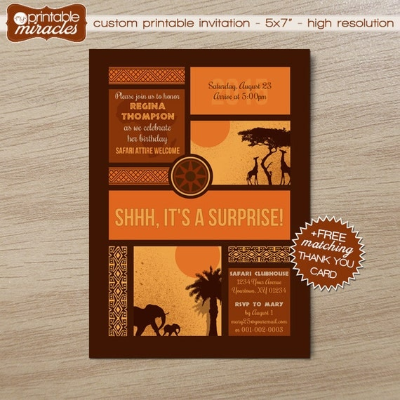 Suprise safari birthday invitation / Printable African theme