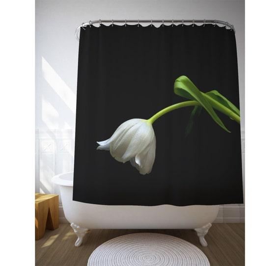 Tulip Shower Curtain, White Flower Art, Photo Printed, Black Decor ...