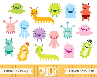 16 Monster Clipart, Cute Monster Clipart, Monster Party, Baby Monsters,  Halloween Monstres, Little Monsters, Kawaii Monster by Vectory