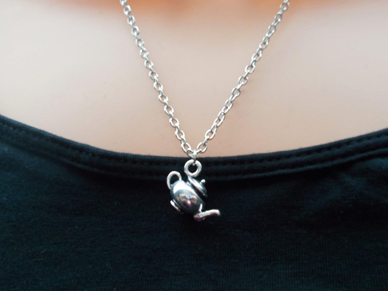 teapot necklace silver necklace kitsch jewellery novelty