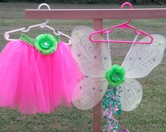 Little girls princess fairy tutu with wings, wand and hair accessory, hot pink, tulle, halloween costume, dress up, size 5/6, party,