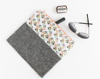 Wildflowers Gray Linen Fold-Over Clutch | s/f Designs