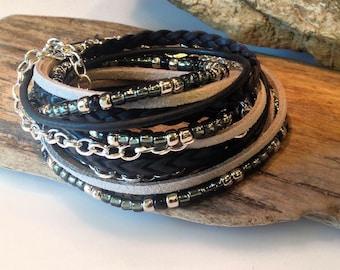 Top Seller! Boho Leather Bracelet, Leather Beaded Wrap, Womens Wrap Bracelet,Gypsy Wrap Bracelet/ Black/Silver/Grey/Cuff Bracelet/Rocker/