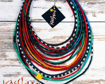 "Ndege Peponi - unique yarn ""Maasai"" necklace (ethnic, boho, eco, hippie, folk)"
