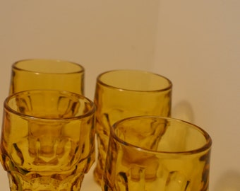 Vintage Tumbler – Yellow Amber Glass Set of 4 – Great Bar Drinking Cups pp500