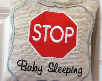 Embroidered Stop Sign door Hanger, Embroidered baby accessory, Door Sign, Baby Sleeping door sign, Stop sign door hanger, Baby shower gift