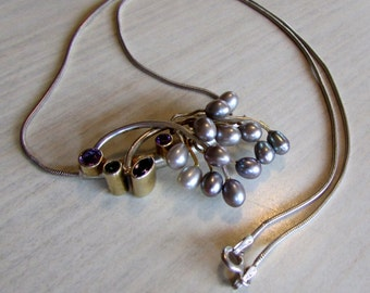 Sterling Silver Pearl Amethyst and Peridot Necklace   EP