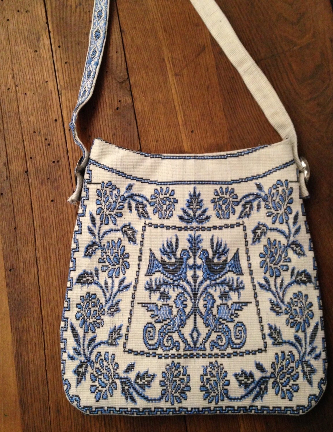 Embroidered mexican purse dove shoulder bag