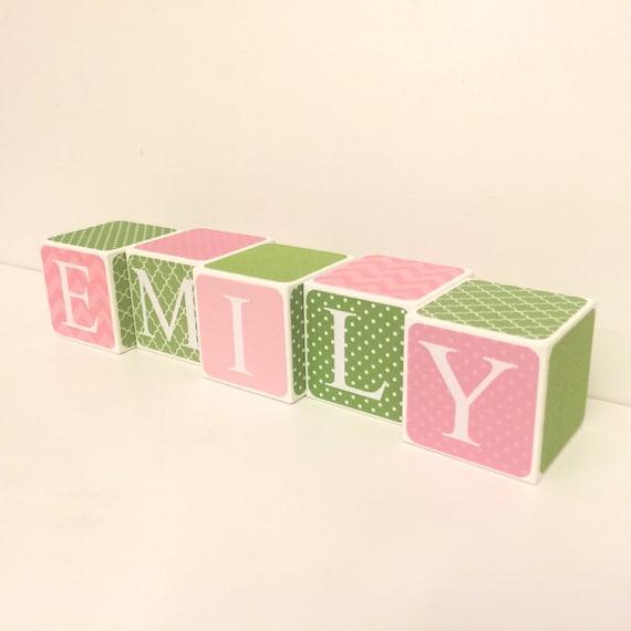 Baby Gift Name Blocks : Custom baby name blocks nursery shower gift