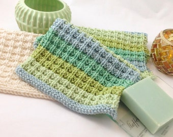 Handmade knitted cotton washcloth