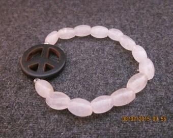 Black peace sign stretch bracelet