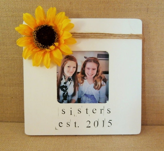 Sister in law wedding gift, Sunflower picture frame