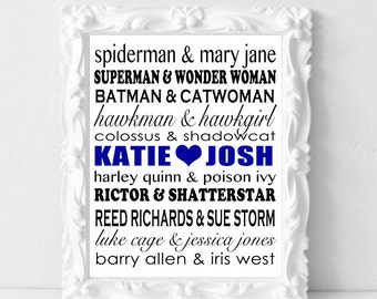 Superhero Couples Personalized Wall Art Print - Couples Wedding Christmas Bridal Shower Birthday Anniversary Gifts