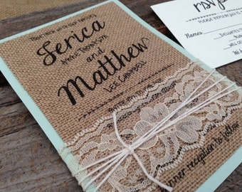 Burlap Wedding Invitation,Shabby Chic Wedding Invitation,Lace Wedding Invitation,Unique Wedding Invitation,Rustic Wedding Invitation