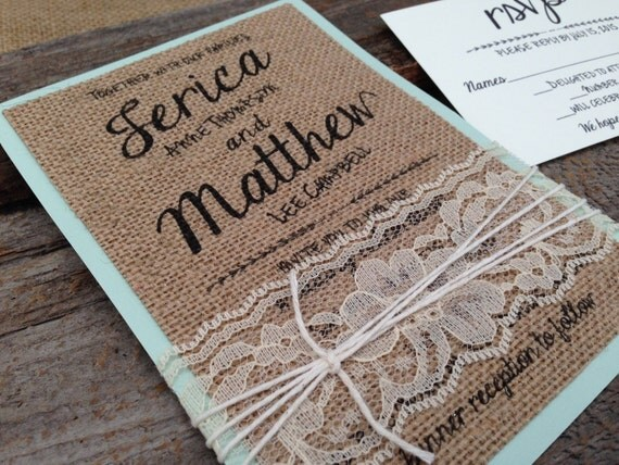 Burlap Wedding Invitation Set,Shabby Chic Wedding Invitation,Lace Wedding Invitation,Unique Wedding Invitation,Rustic Wedding Invitation