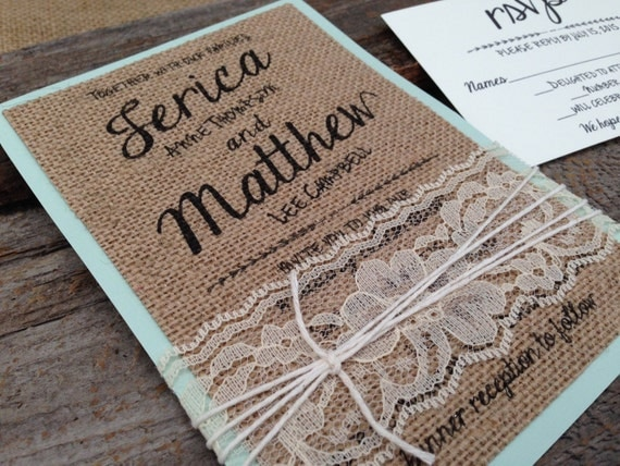 Cheap Shabby Chic Wedding Invitations: Burlap Wedding Invitation SetShabby Chic Wedding