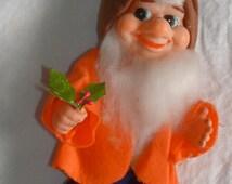 "Vintage 60's Japan Rubber Face Felt Dressed 10"" Elf-Dwarf Toy, Doll, Decor Figure"