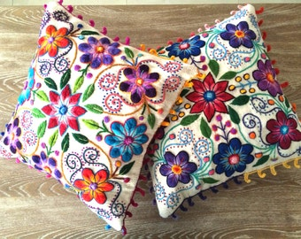 Back In stock! Peruvian Pillow covers Hand embroidered flowers 16 x 16 Sheep & alpaca wool handmade Set of 2 Cream