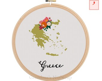 Greece Cross Stitch Pattern Modern Cross Stitch Pattern Country Cross Stitch Pattern Greece Art Greece Country Art Greece Pattern