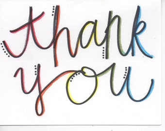 Colorful handmade thank you card