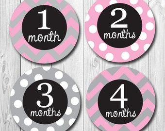 Pink and Gray Monthly Baby Stickers, Baby Girl, Baby Onesie Stickers, Months 1-12, Milestone, Polkadot, Chevron, Month Stickers Girl