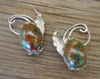 Vintage Art Nouveau Style Moss Agate Clip On Earrings
