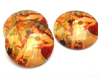 Cabochon Mucha Autumn 25 mm Art Nouveau style