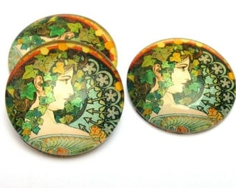 Cabochon Mucha Laurel 25 mm Art nouveau DIY